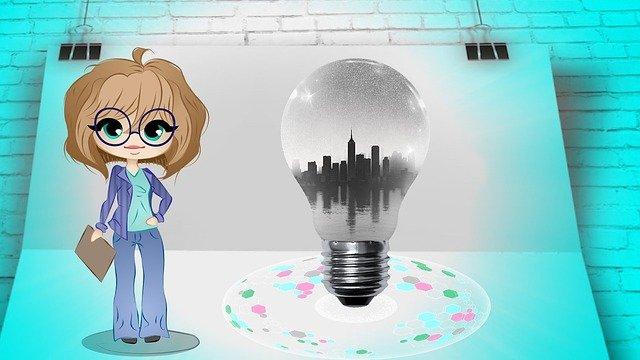 žena, žárovka, město